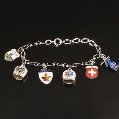 Vintage Mixed Silver Charm Bracelet Featuring Travel Theme