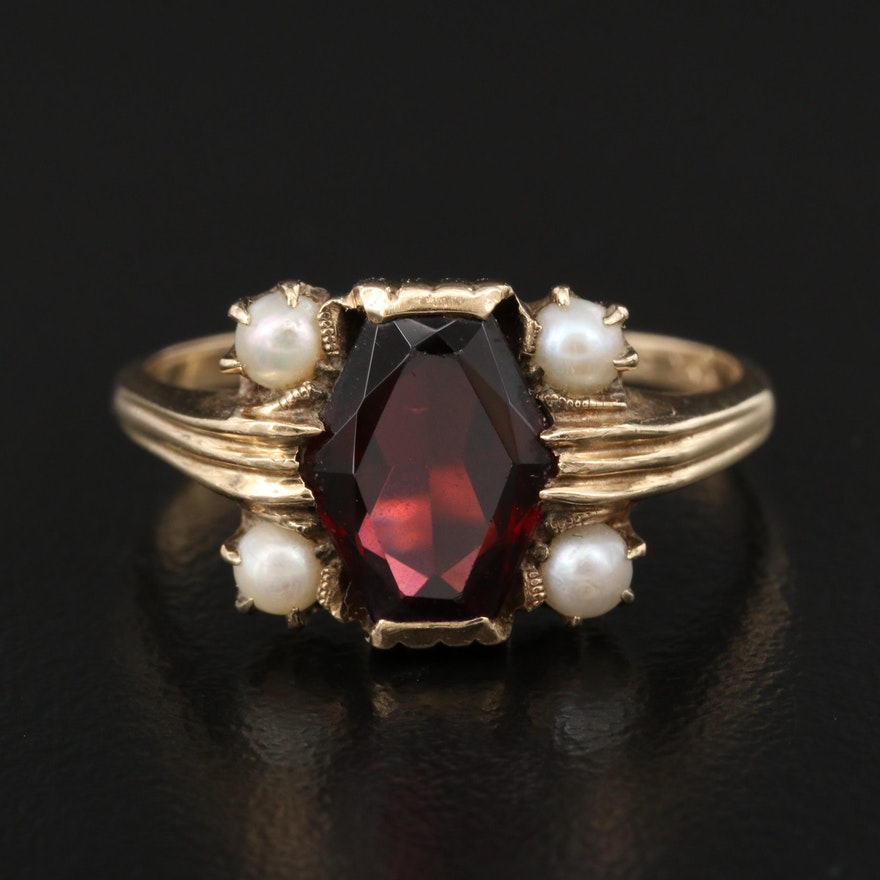 Victorian 10K Garnet and Pearl Ring