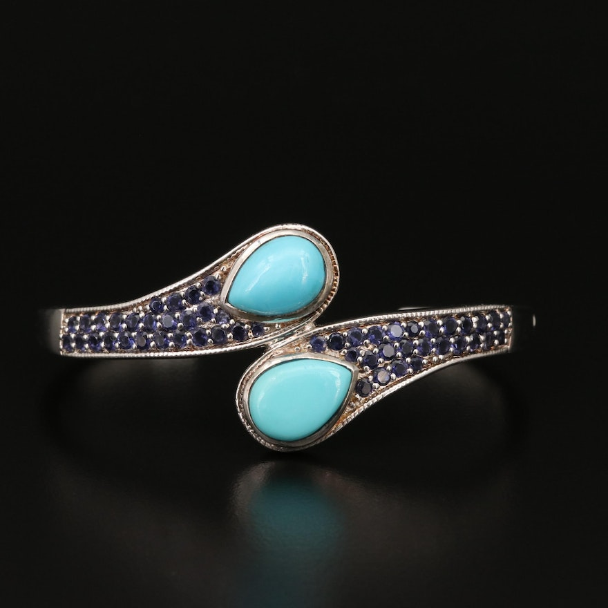 Sterling Turquoise and Iolite Cuff