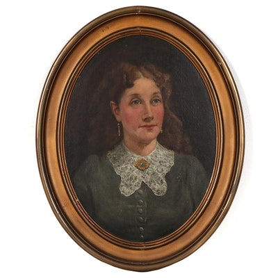 Portrait of a Woman Oil Painting, Mid-Late 19th Century