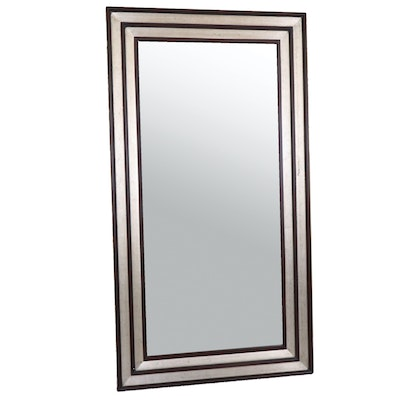 Silver Leaf and Ebonized Full-Length Wall Mirror, Contemporary