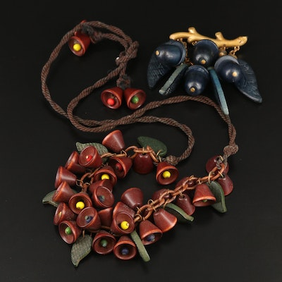 1930s Wooden Foliate Necklace and Acorn Brooch
