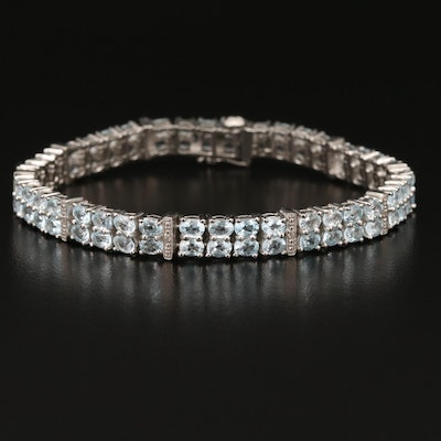 Sterling Topaz Double Row Bracelet