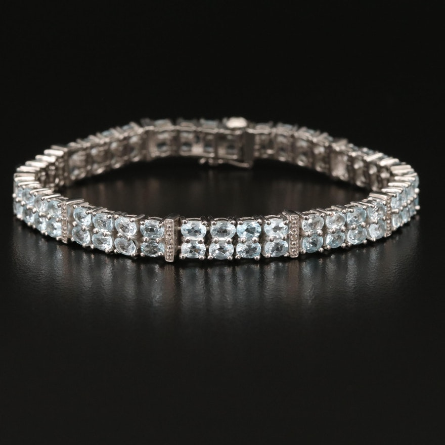 Sterling Topaz Double Row Bracelet