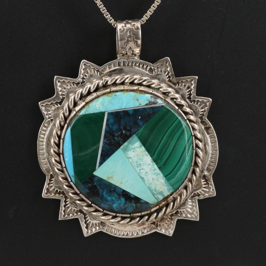 Wilson Jim Navajo Diné Malachite, Turquoise and Sodalite Necklace