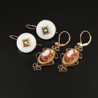 Victorian Cameo and Opaline Glass Earrings