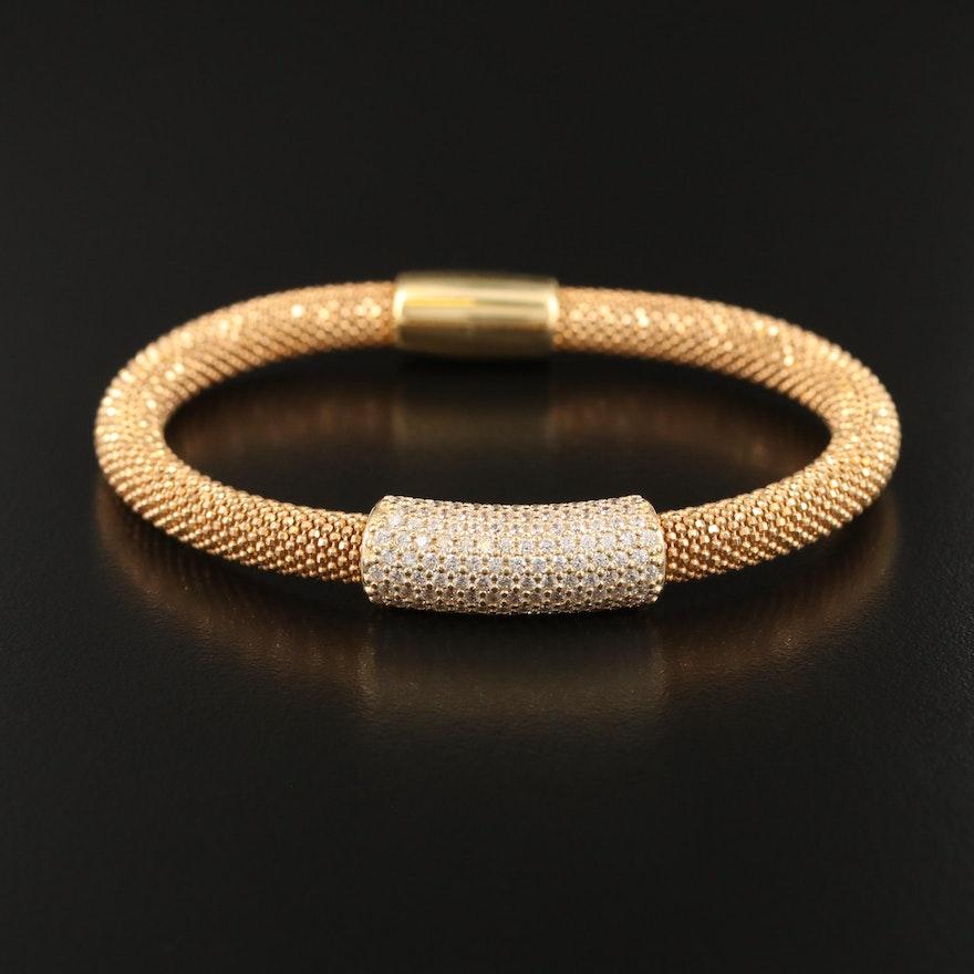 Sterling Cubic Zirconia Stationary Bracelet