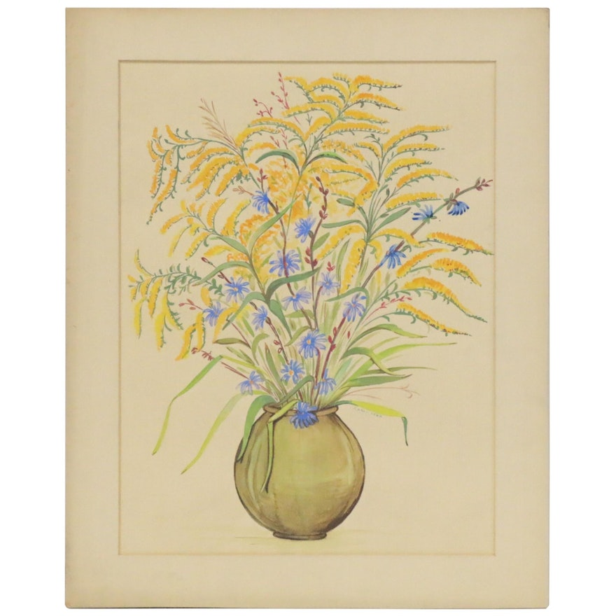 Carol Lynn Watercolor Painting of Floral Still Life, Late 20th Century
