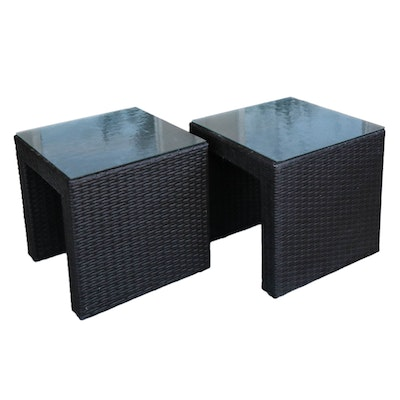 Pair of Woven Resin Patio Side Tables with Glass Tops