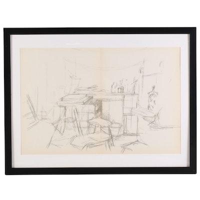 "Albert Giacometti Double-Page Lithograph for ""Derrière le Miroir,"" 1957"
