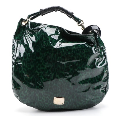 Jimmy Choo Green Leopard Print Patent Leather Hobo Bag