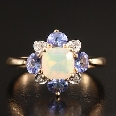 10K Opal, Tanzanite and Diamond Ring