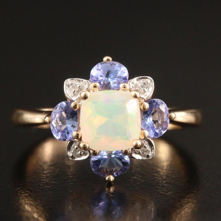 10K Opal, Tanzanite and Diamond Ring