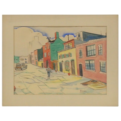 Watercolor Painting of Street Scene, Late 20th Century