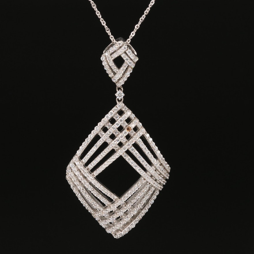 Sterling Cubic Zirconia Openwork Necklace