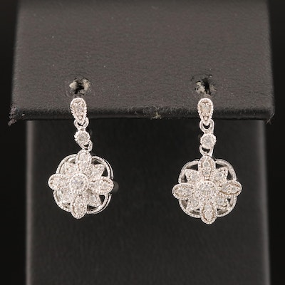 Sterling Cubic Zirconia Earrings with Milgrain Detail