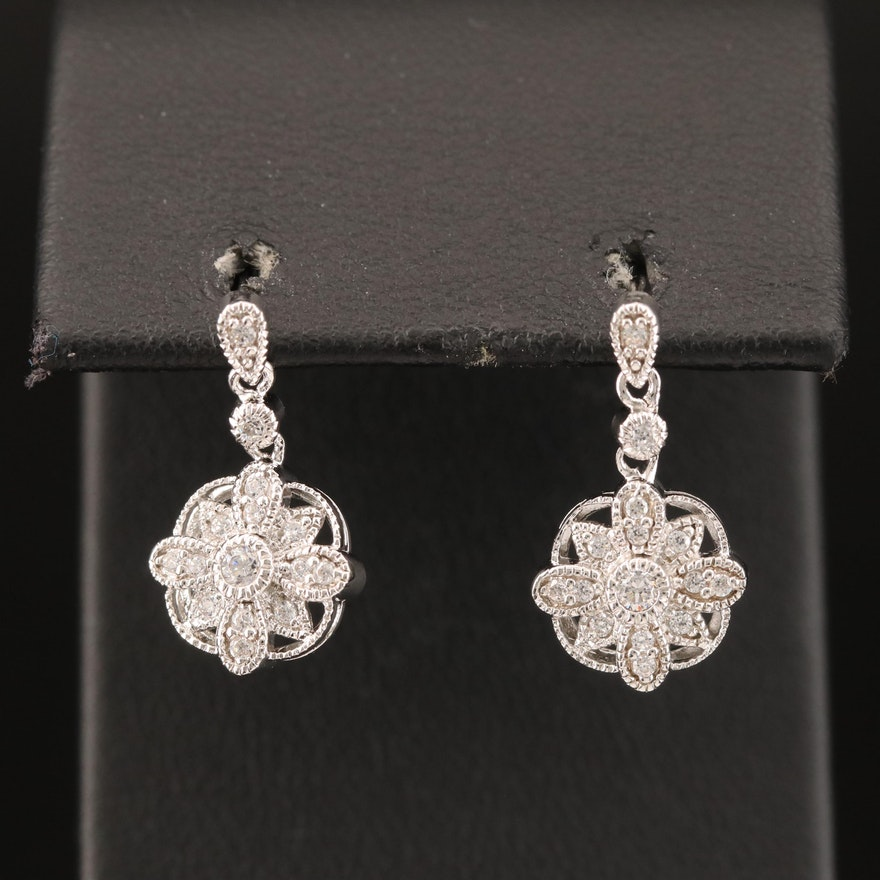 Sterling Cubic Zirconia Earrings with Milgrain Detail