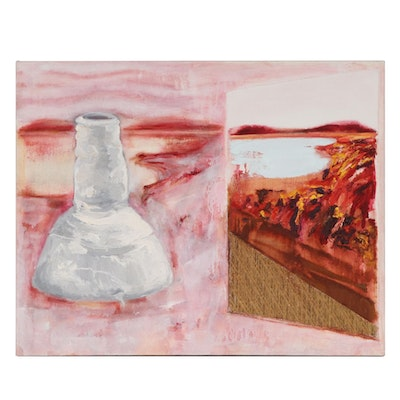 """Vera Klement Mixed Media Painting """"Vessel in a Munch Dreamscape,"""" 1988"""