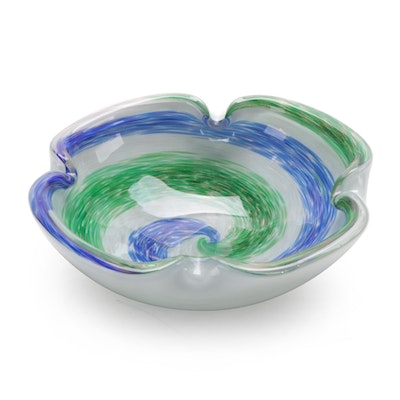Blue and Green Swirl Art Glass Bowl