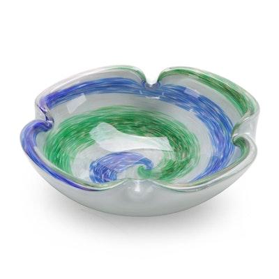 Blue and Green Swirl Art Glass Bowl