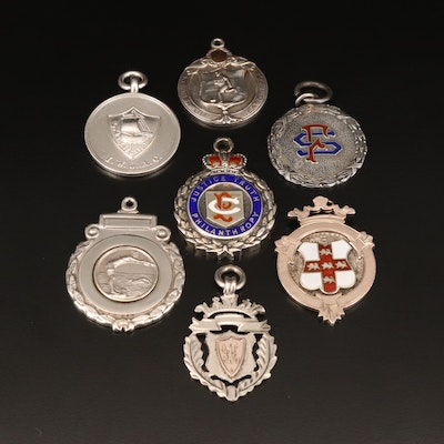 Antique and Vintage Commemorative Medals Pendants with Enamel Accents