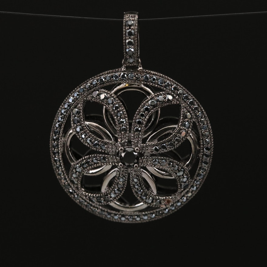 Sterling Silver Spinel Openwork Pendant