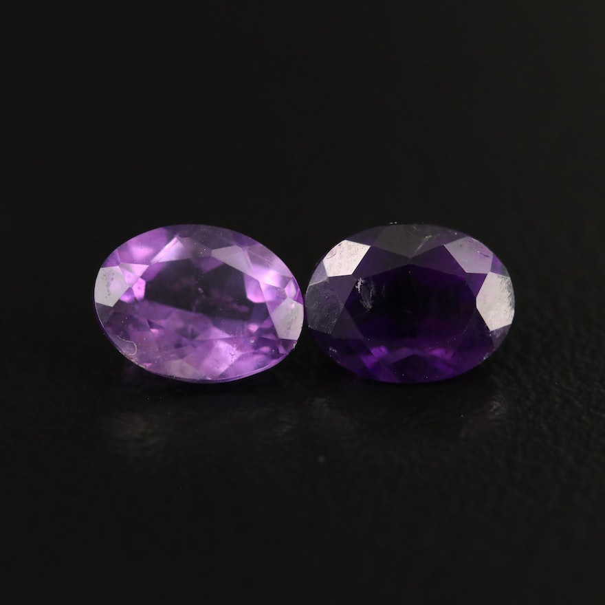Loose 2.41 CTW Matched Pair of Amethysts