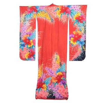 Multicolored Floral Patterned Red Kakeshita Wedding Kimono, Circa Showa Period