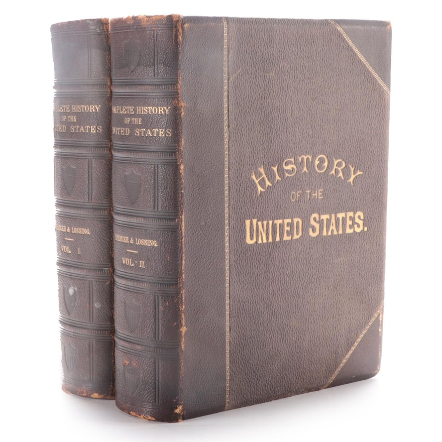 """""""History of the United States"""" Two-Volume Set by J. A. Spencer, 1878"""