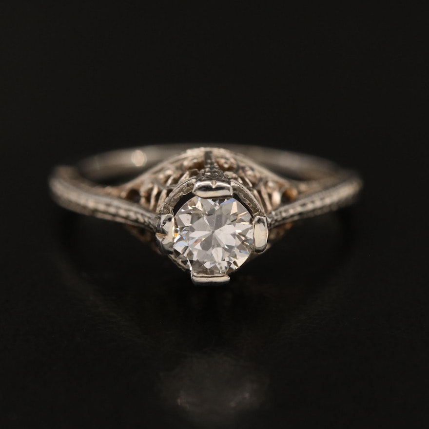 Antique Neoclassical Belais 18K 0.35 CT Diamond Solitaire Ring