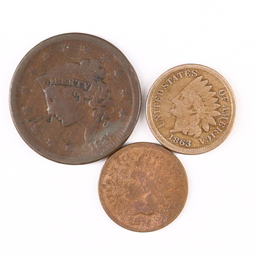 Two Indian Head Cents and a Large Cent
