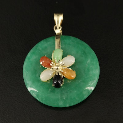 14K Jadeite and Black Onyx Pendant