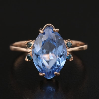 14K Rose Gold Spinel and Diamond Ring