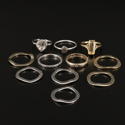 Sterling Silver Rings Featuring Citrine, Quartz and Hematite