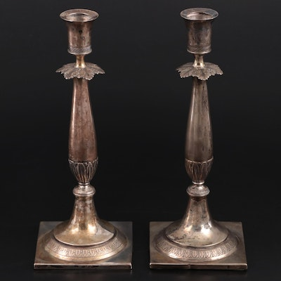 Chased Silver Tone Metal Candle Sticks