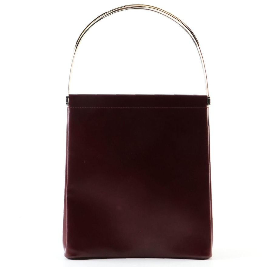 Must de Cartier Trinity Burgundy Leather Top Handle Bag