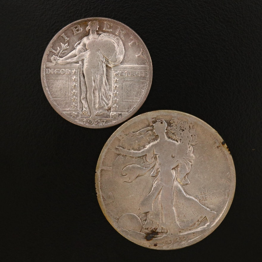 Standing Liberty Silver Quarter and Walking Liberty Silver Half Dollar