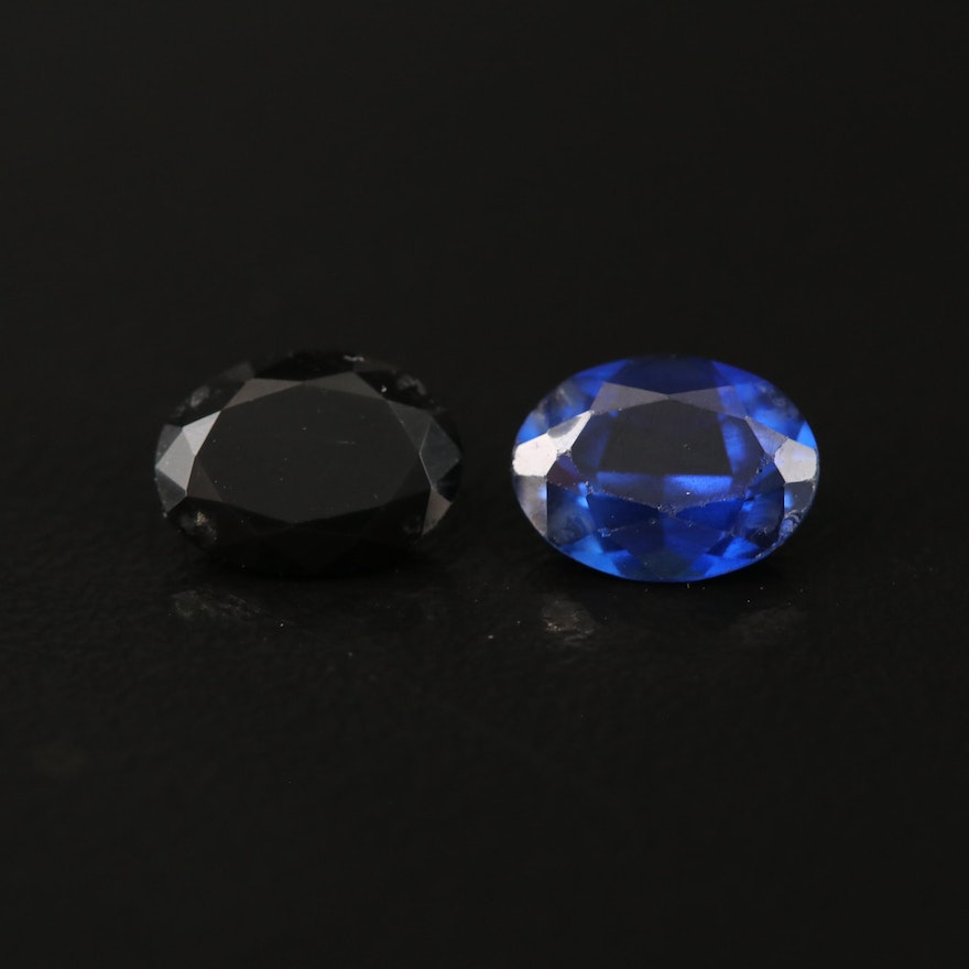 Loose Laboratory Grown Oval Faceted Sapphires