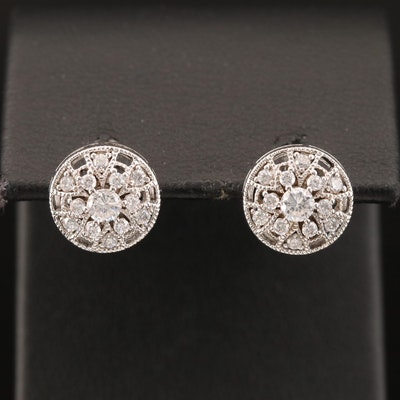Sterling Cubic Zirconia Circular Stud Earrings