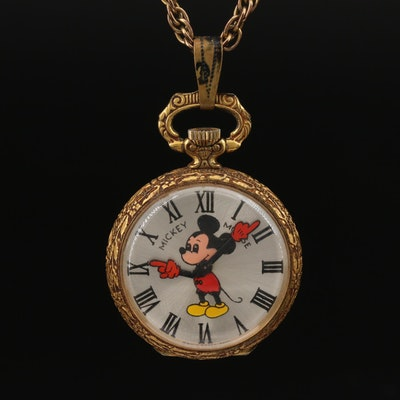 Elgin Mickey Mouse Pendant Watch on Gold Filled Chain