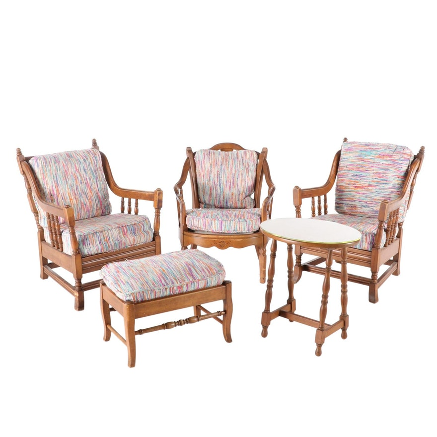 Stickley Maple-Stained Lounge Chairs, Ottoman and Table Group, Mid-20th Century