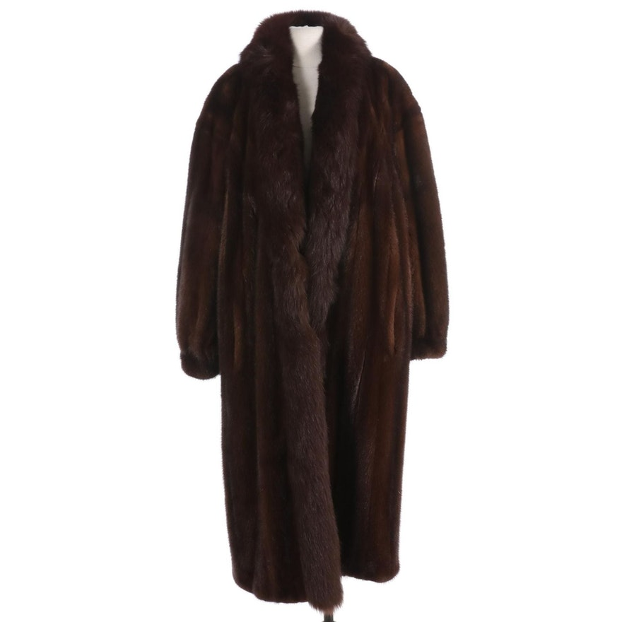 Brown Mink and Fox Fur Full-Length Coat with Banded Cuffs by Andriana Furs