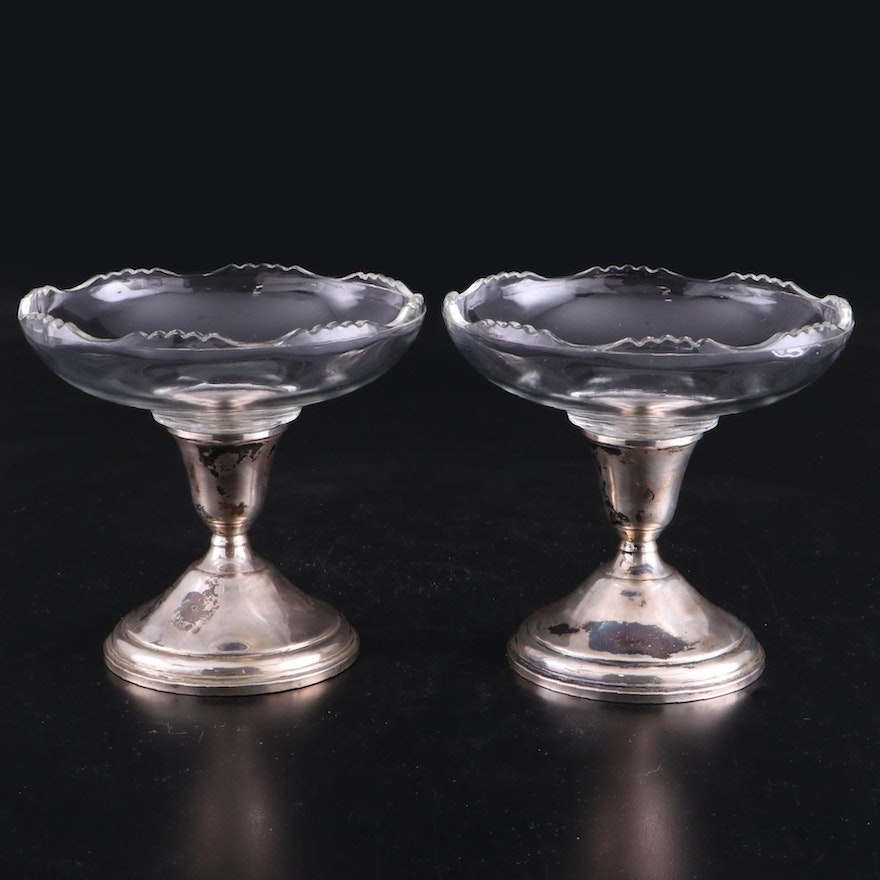 B-I Sterling Weighted and Glass Compote Candy Dishes, Early to Mid 20th Century