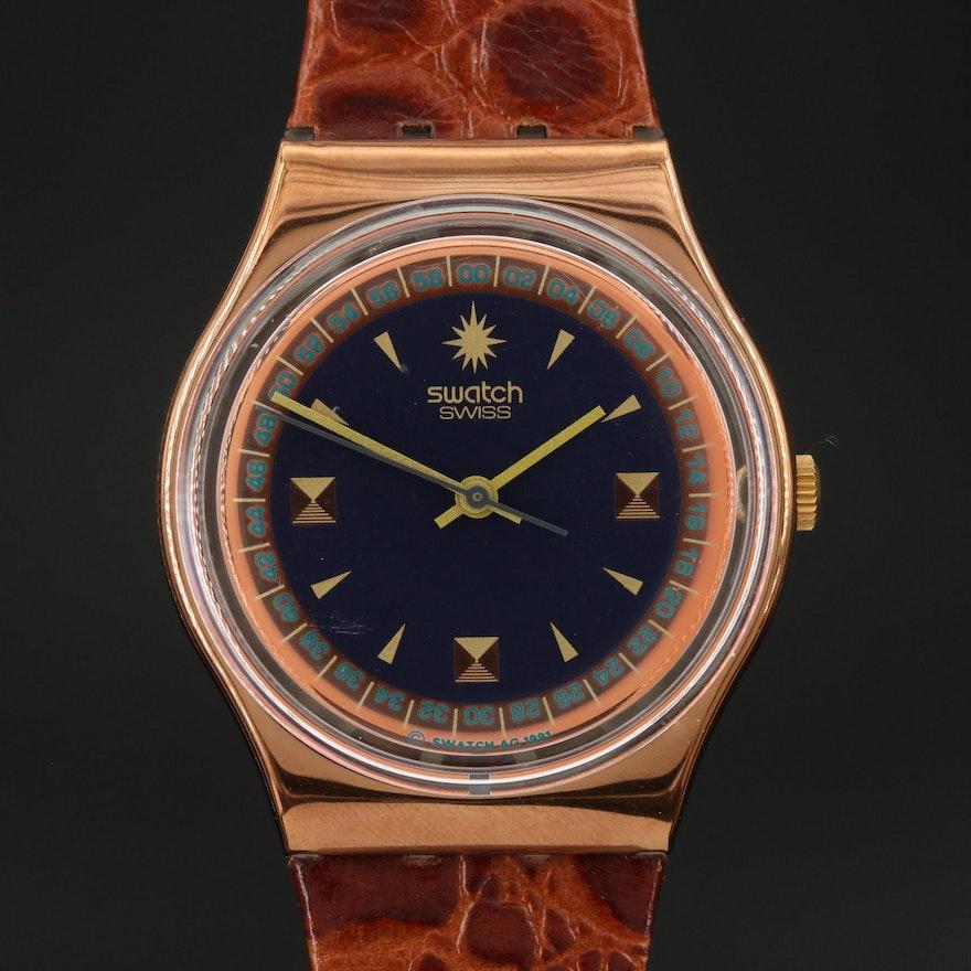"Vintage ""Copper and Black"" Swiss Swatch Wristwatch"