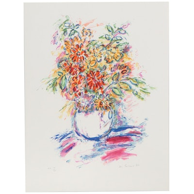Wayne Ensrud Lithograph of Flower Vase, Late 20th Century