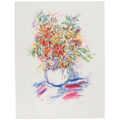 Wayne Ensrud Lithograph of Flower Vase, Late 20th Century