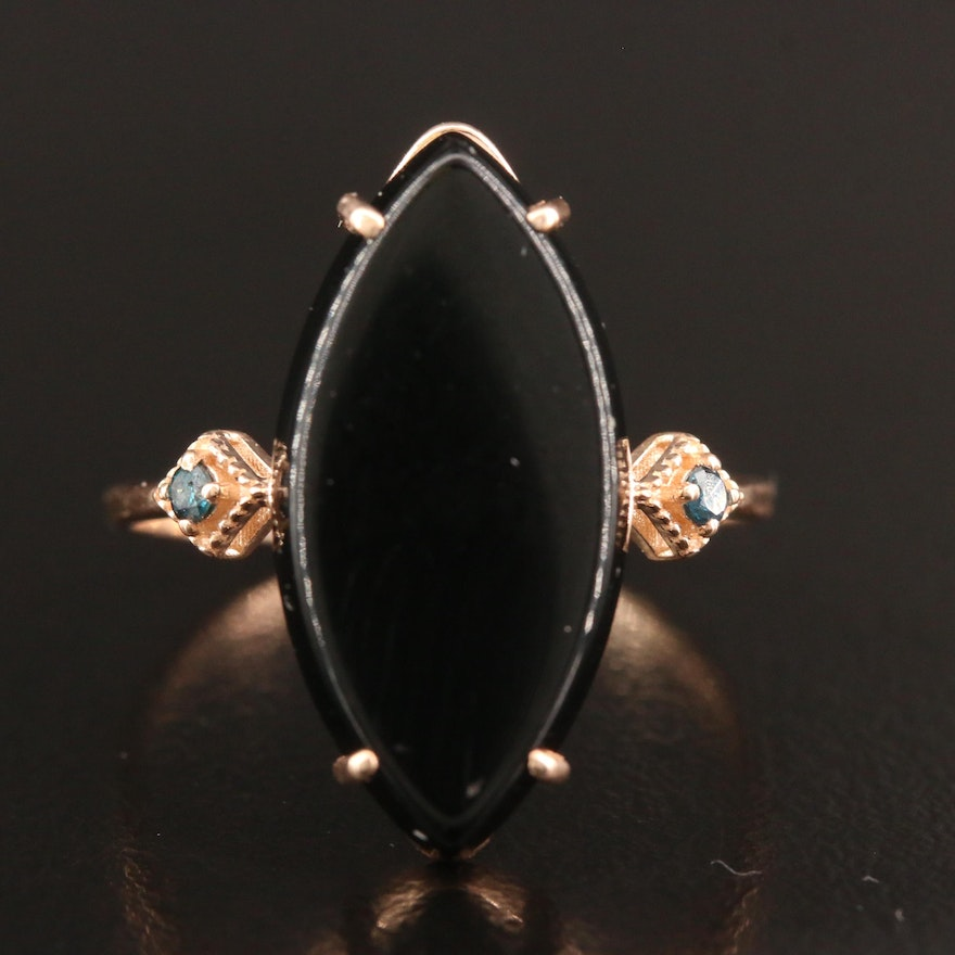 14K Rose Gold Onyx and Diamond Ring