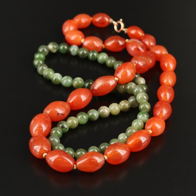 Agate and Nephrite Beaded Necklaces