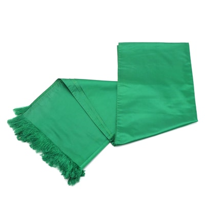 Emily Wetherby Emerald Green Satin Fringe Evening Wrap