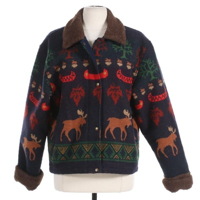 Pendleton Originals Blanket Wool Jacket with Fleece Collar and Cuffs